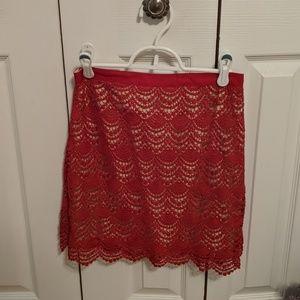 Club monaco laced red mini skirt size 4